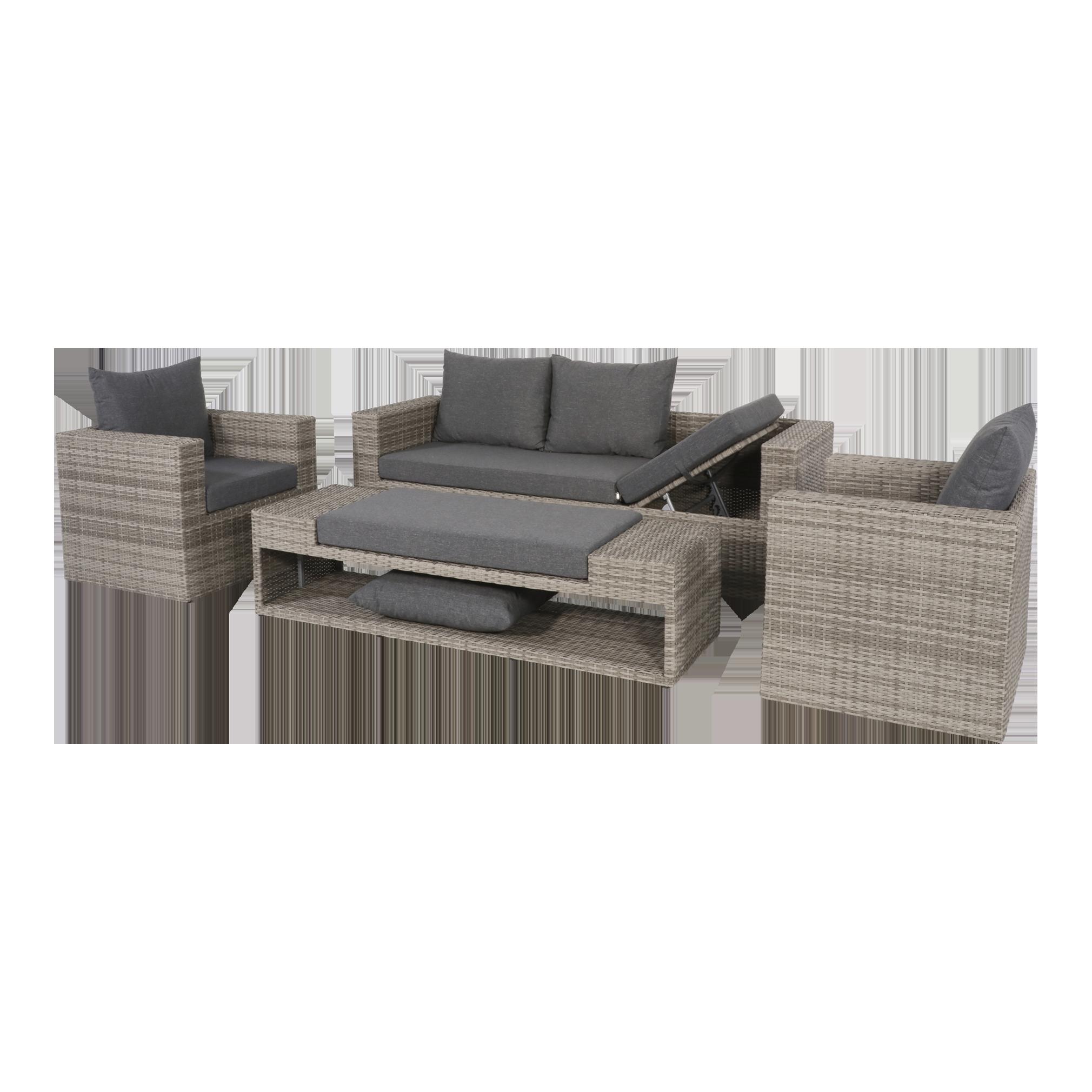 Loungeset Gartenmöbel Set Lounge Roma 4teilig grau hochwertig | eBay
