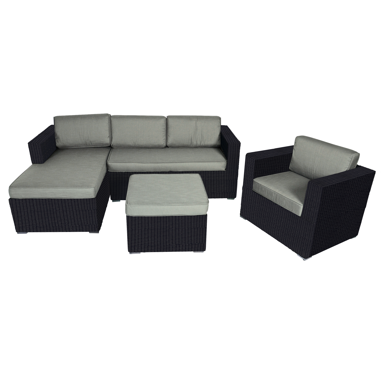 Eckbank Loungeset Garten Jazz Black 4-teilig Gartenmöbel-Set schwarz ...