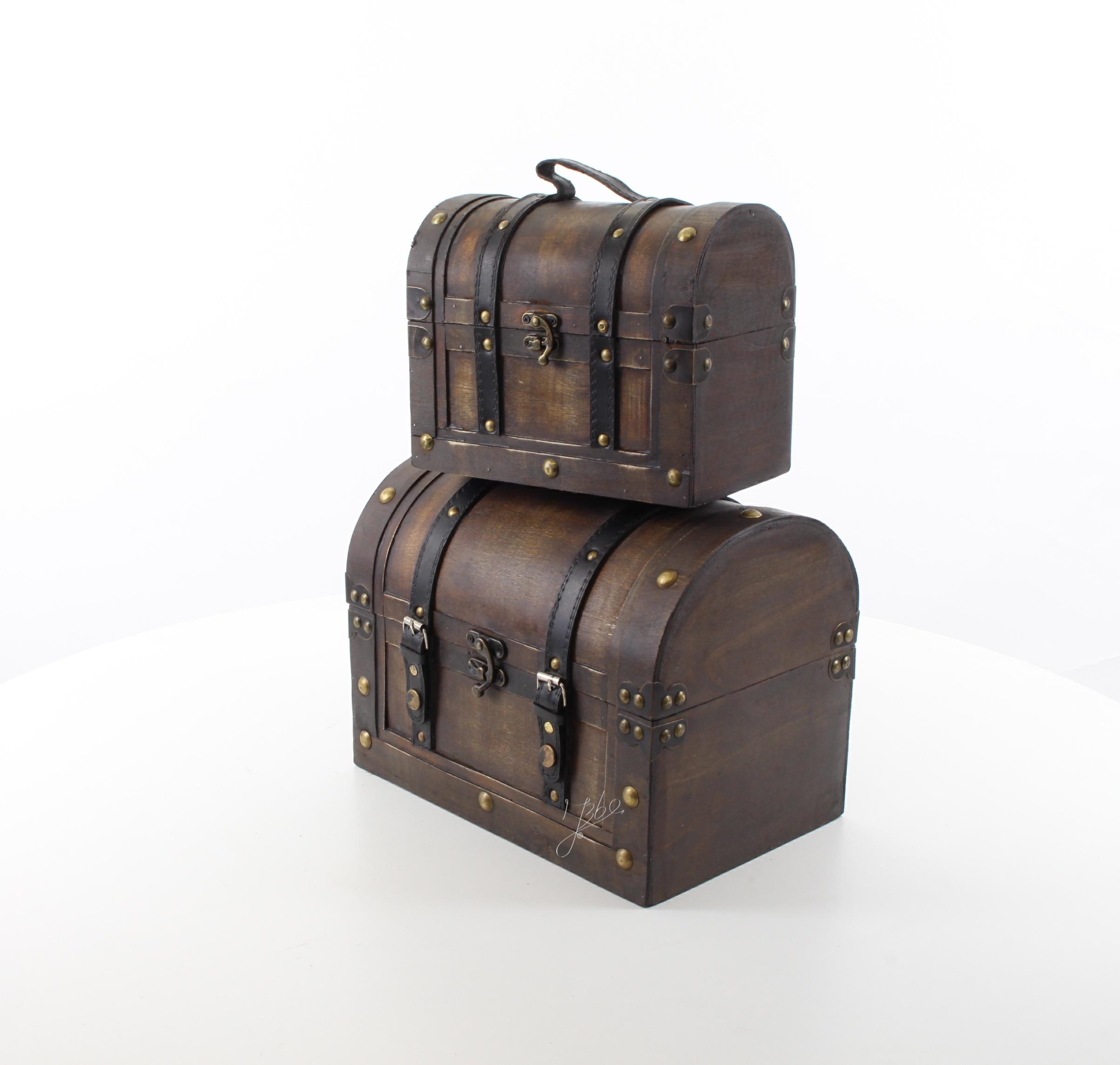 ab7e388bcb3 Deko Koffer Set Holz Vintage 2er Set 30//22 cm Decoratie