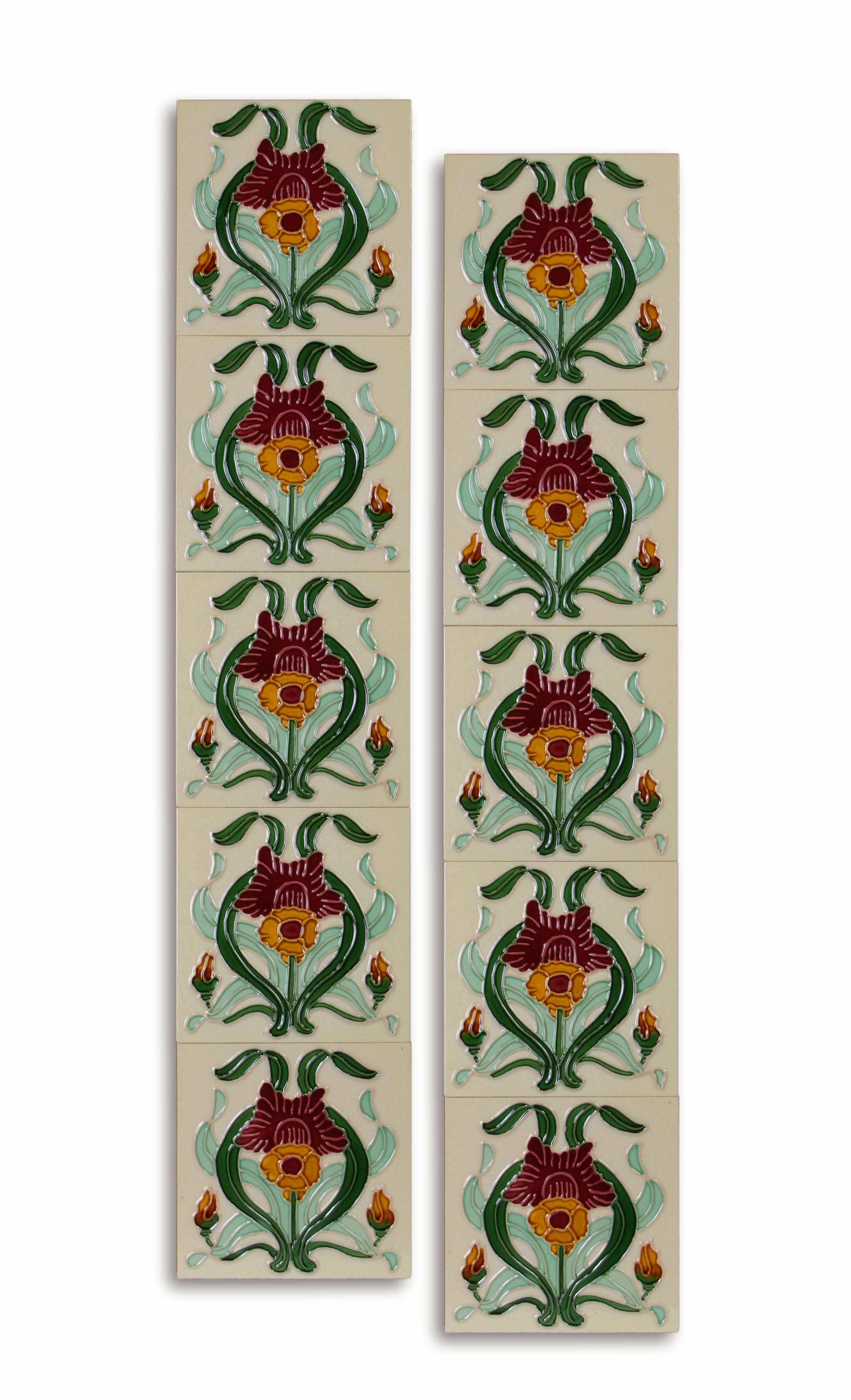 10 Stück Keramik Fliesen Wandfliesen Kacheln Jugendstil 15,2 x 15,2 cm Retro